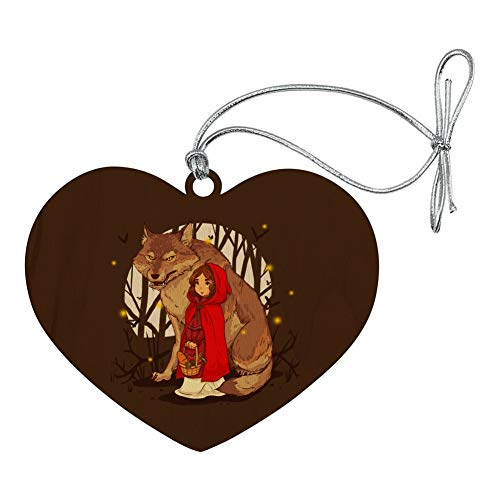 GRAPHICS & MORE Little Red Riding Hood with Wolf in Woods Heart Love Wood Christmas Tree Holiday Ornament