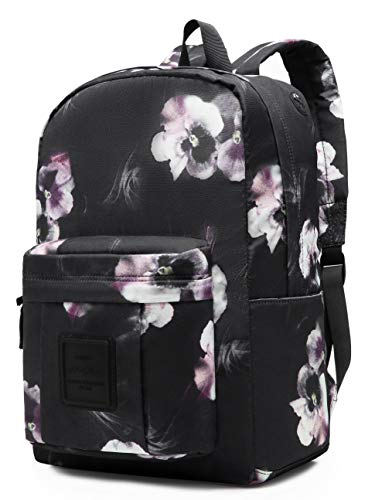599s Floral Patterned Backpack School Bag, fits 15.6-inch Laptop, Black
