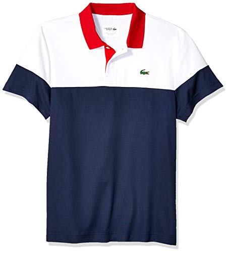 Lacoste Men's Sport Short Sleeve Color Blocked Polo, White/Navy Blue/red