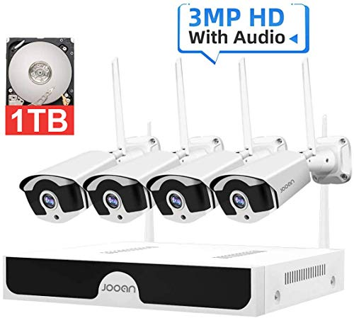 JOOAN【2020 updated】3MP Security Camera System wireless,8-Channel NVR&4Pcs FHD 1296P(clearer than 1080P)Audio Record CCTV Cameras,Waterproof&Good Night Vision,Motion Dectection&Email Alarm(1TB Hard Drive pre-installed)