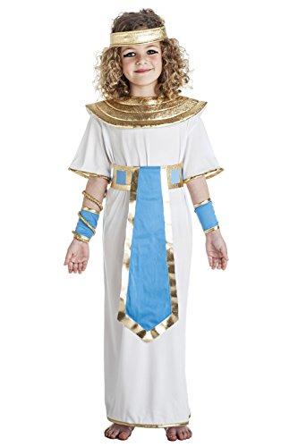 Disfraz de Faraona Egipcia Blanco y Azul Para Niña