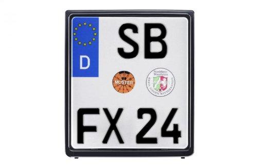 Motorrad Kennzeichenhalter für Nummernschilder - Maße: 180 x 200mm - Farbe: Schwarz - MetaChrom