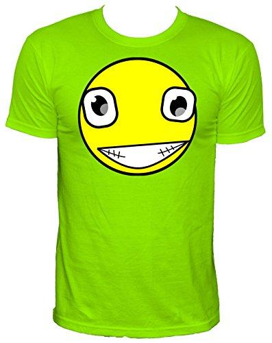 NEON Herren T-Shirt verrücktes Smiley_neongrün_XL