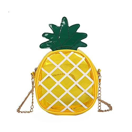 GDFFKS Mini Bolso de piña, Bolsos de Hombro de Frutas, Bolso Cruzado Transparente de PU, Bolso de Mensajero de Moda Informal para niñas, Duradero, para Mujeres, niñas, Bricolaje, Amarillo