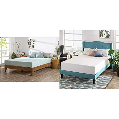 Zinus Alexia 12-Inch Deluxe Wood Platform Bed in Rustic Pine Finish, Full & 12 Inch Green Tea Memory Foam Mattress/CertiPUR-US Certified/Bed-in-a-Box/Pressure Relieving, Full
