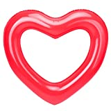 HeySplash Inflatable Swim Rings, 47.3' x 39.4' Heart Shaped Swimming Pool Float Loungers Tube, Water Fun Beach Party Toys for Kids, Adults - Red