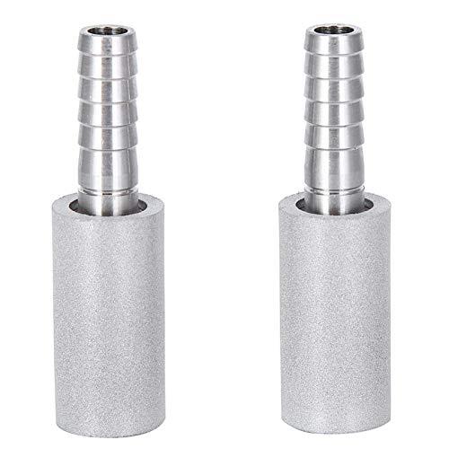 Piedra de difusión de oxígeno, 2 piezas de 0,5 μm de piedra de difusión Piedra de aireación de acero inoxidable con púa de diámetro exterior de 1/4 de pulgada