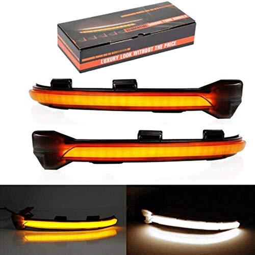 Dynamische LED-Blinkerlicht-Spiegelanzeige mit Abtastgradientenlicht Ersatz für Golf 7 MK7 GTI R GTE GTD Geschwärzter Umkarton(Yellow+White)
