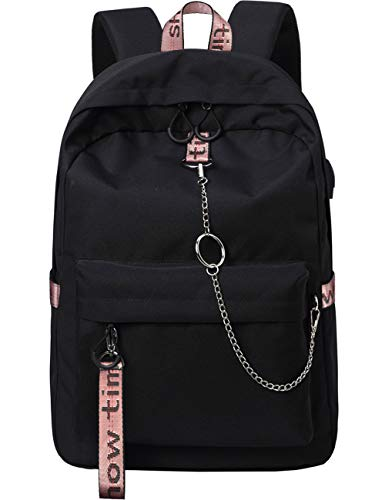 Mygreen School Backpack with USB Charging Port Travel Convenient Water Resistant Polyester Luggage Backpack College Bookbag for Kids Student Up to 15.6-Inch Laptop and Notebook Black&Pink