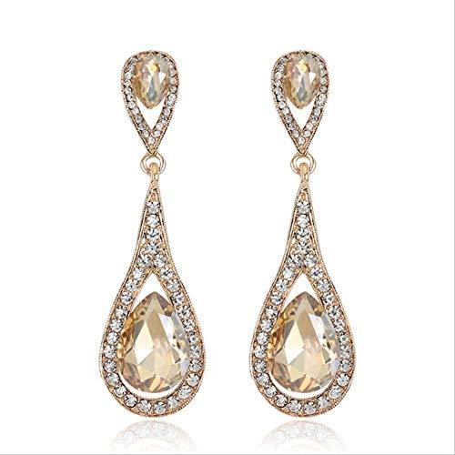 Geen merk Champagne Crystal Stone Drop Oorbellen Geometrische Metalen Dangle Oorbellen Trendy Vrouwen Sieraden Als Getoond Champagne