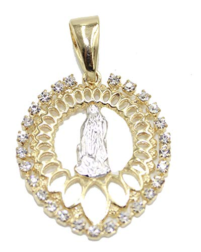 Medalla de Virgen de Guadalupe con Bisel de Diamantes de imitación Chapado en Oro de 18 K con Cadena de 50,8 cm