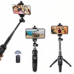 Petiparkit Selfie Stick Phone Tripod - Portable 40 Inch Aluminum Alloy Cell Phone Stand with Wireless Remote Shutter Compatible with iPhone 12 11 pro Xs Max Xr X 8 7 6 Plus, Android Samsung Smartphone