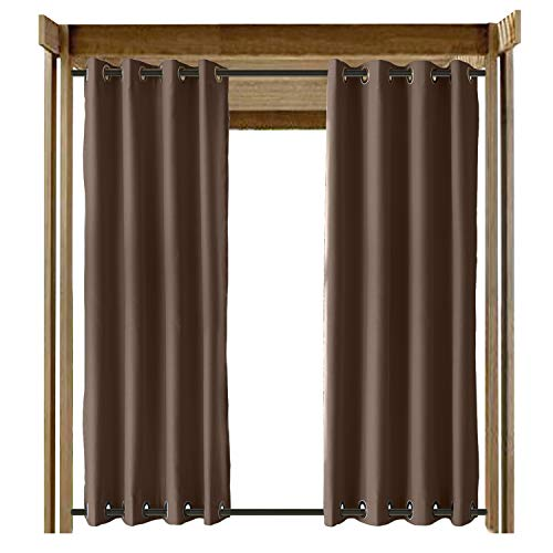 ChadMade Windproof Outdoor Curtain with Top Bottom Aluminum Grommet Chocolate 84' W x 84' L, Waterproof Patio Cabana Porch Gazebo Panel Drapery (1 Panel)