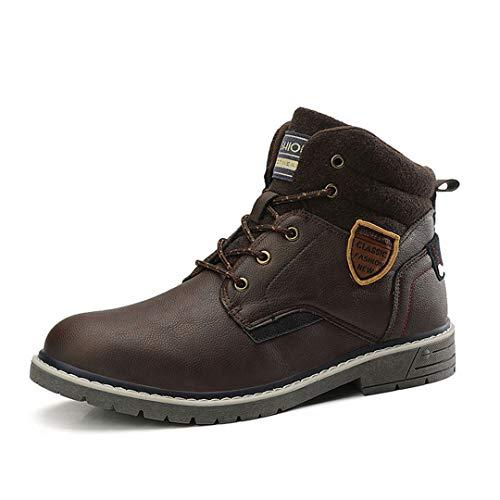 TH&Meoostny Hombres Cuero Trekking Zapato de Peluche Terciopelo Zapatillas de Invierno Resistente al Agua Zapatos de Nieve Coffee 43