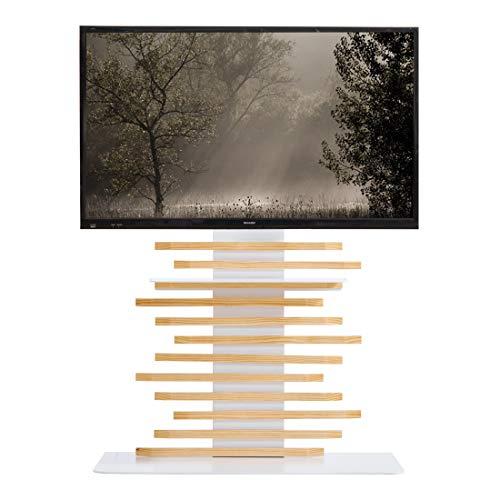 タンスのゲン天然木テレビスタンド組みかえアレンジ32~65v対応【震度7試験クリア】棚板付き3段階調整コンパクト自立式ナチュラル5680000801(69759)