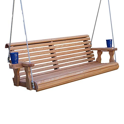 Amish Heavy Duty 800 Lb Roll Back Treated Porch Swing with Hanging Ropes and Cupholders (4 Foot, Cedar Stain)