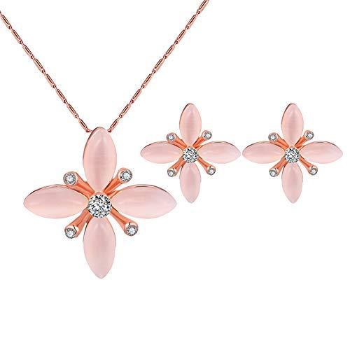 Homeofying Juego de pendientes y collar con colgante de flor de diamantes de imitación para mujer, color rosa
