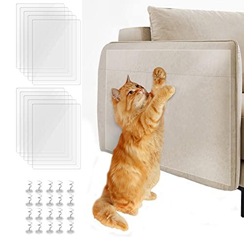 LQKYWNA 10 protectores de arañazos para gatos, con 20 alfileres, pegatinas autoadhesivas antiarañazos, protector de sofá a prueba de gatos, protector de muebles para arañazos