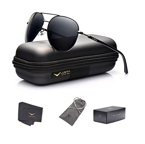 LUENX Aviator Sunglasses Mens Women Polarized Black Lens ...