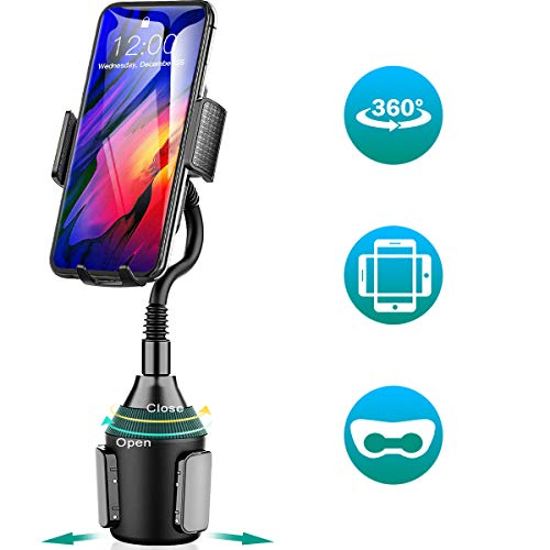 Amwanan Cup Holder Car Mount, 360°Universal Adjustable and Easy Clamp Cell Phone Holder with Goose Neck Design Compatible with iPhone, Samsung, Google, LG etc.