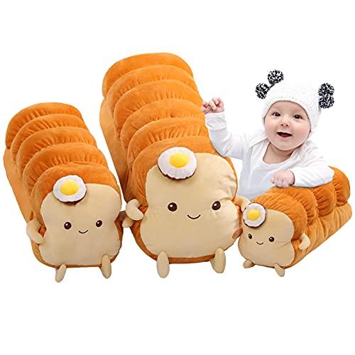 DENTRUN Fried Egg Toast Bread Stuffed Pillow, Big Hugging Chubby Sleep Bread Stuffed Plush Toy, Fluffy Soft Toast Bread Sofa Cushion Stuffed Toy for Kids Adults Gift Room Decor, Long loaf/Bread slices