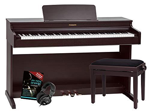 Steinmayer DP-321 RW Digitalpiano - 88 Tasten mit Hammermechanik - Ebony/Ivory Touch - Bluetooth Audio/MIDI - Set inkl. Klavierbank, Kopfhörer und Schule - Rosenholz