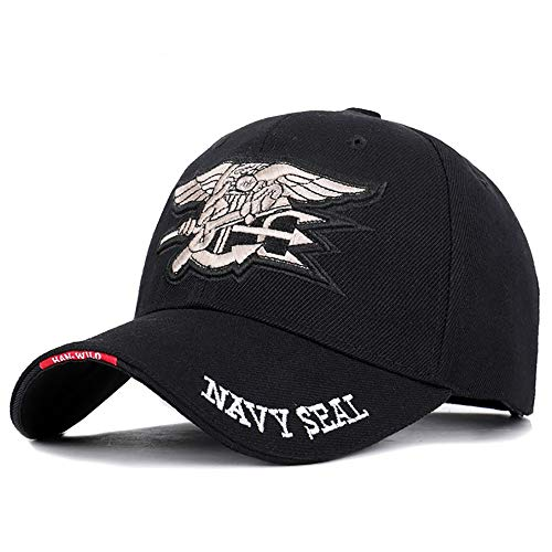 Navy Seal Team Large gepatchten Cap Adjustable Cotton Baseballmütze, The Legend Military Cap, Schwarz,Schwarz