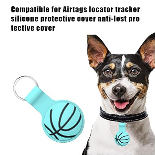 HAOXU Custodia Protettiva Compatibile per Airtags Locator Tracker Cover Protettivo in Silicone Anti-Lost Basket Pallacanes Cover Protettivo