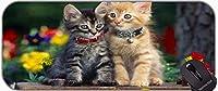 ステッチエッジ子猫の動物かわいい灰色の猫の花の滑り止めゴム製の滑り止めのゴム製のベースのマウスパッド