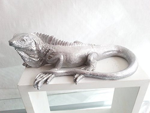 Decorativo lucertola Gecko in pietra artificiale, colore: argento anticato, 22cm