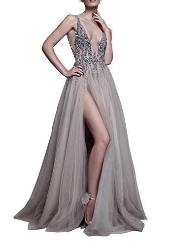 2021 Gray Prom Dresses with Deep V Neck Sequins Tulle and Lace High Split Long Evening Dress Party Dresses Grey-US10 (Apparel)