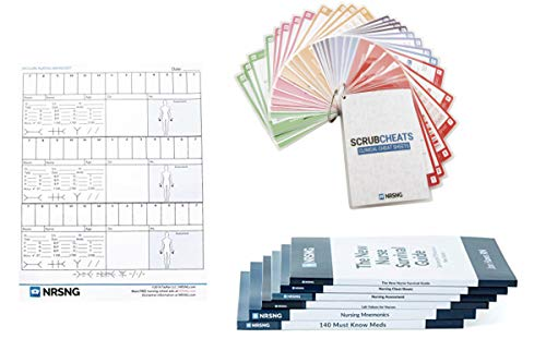 NURSING.com Nursing School Supplies Kit (Scrubcheats, Books 140 Must Know Meds, 63 Lab Values, Nursing Mnemonics, Nursing Cheat Sheets, Report Sheet) Gift for Nursing Students
