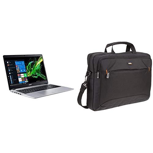 Acer Aspire 5 Slim Laptop, 15.6 Full HD IPS Display, AMD Ryzen 3 3200U, 4GB, 128GB SSD, Backlit Keyboard, Windows 10 & AmazonBasics 15.6-Inch Laptop Computer and Tablet Shoulder Bag Carrying Case