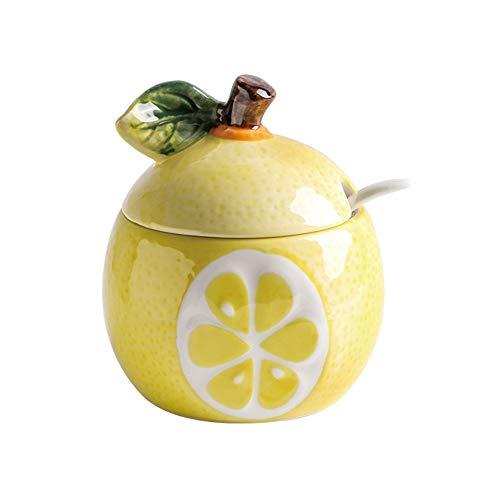 OnePine 250ml Zuccheriera, Zuccheriera in Ceramica a Forma di Frutta con Coperchio e Cucchiaio, Design Elegante, per Casa e Cucina