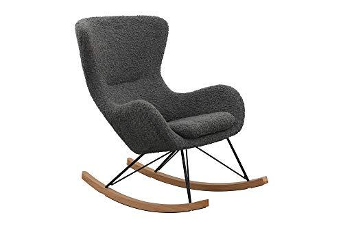 SalesFever Schaukelstuhl SKAL | Bezug Teddyfell in Grau | Kufen Massiv-Holz | Gestell Metall schwarz | Rocking-Chair im skandinavischen Design