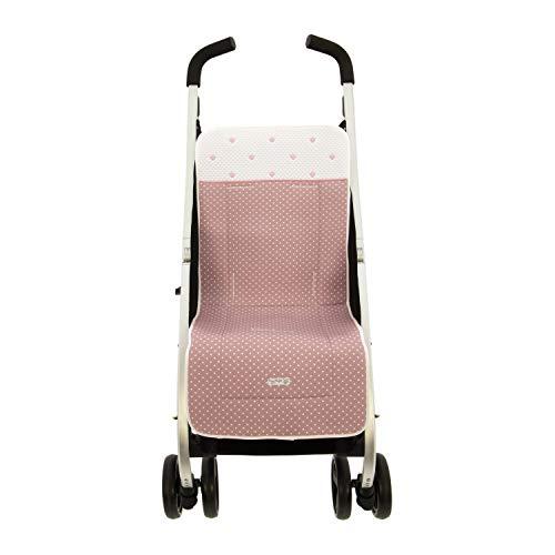 Rosy Fuentes | Colchoneta silla recta | 88 x 34 cm | Cojín silla paseo transpirable | Suave para el bebé | Elaboración: piqué | Estampado | Color rosa empolvado
