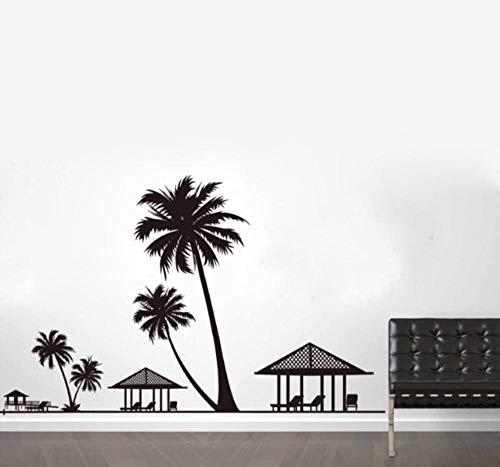 sufengshop Holiday Beach Palms Kokosnoot Boom Muurstickers Parlor Woonkamer Slaapkamer Huis Decor Paviljoen Stoelen muursticker Poster Verpakking Grootte 60×90cm