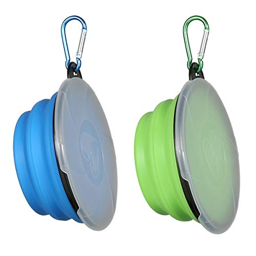 Collapsible Dog Bowl,2 Pack Portable and Foldable Pet Travel Bowls Collapsable Dog Water Feeding Bowls Dish for Dogs Cats and Small Animals,with Lids (Blue+Green)