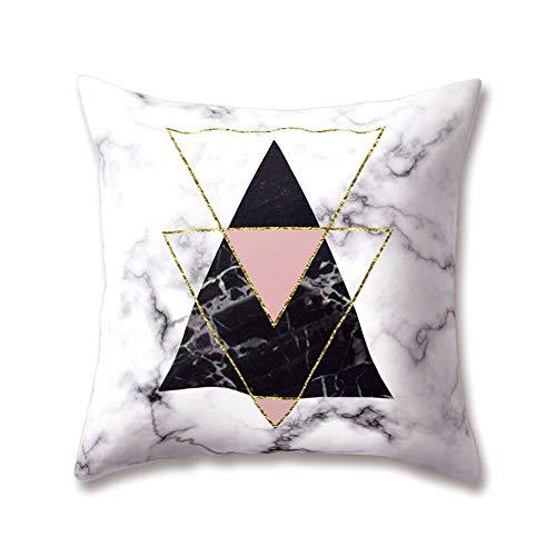 Mesllings - Fundas de cojín de felpa suave, color gris, serie de simulación de naturaleza, textura de mármol, impresión geométrica de 18 x 18 x 45 x 45 cm, suave funda de almohada lisa para el hogar, sofá cama decorativa 2019