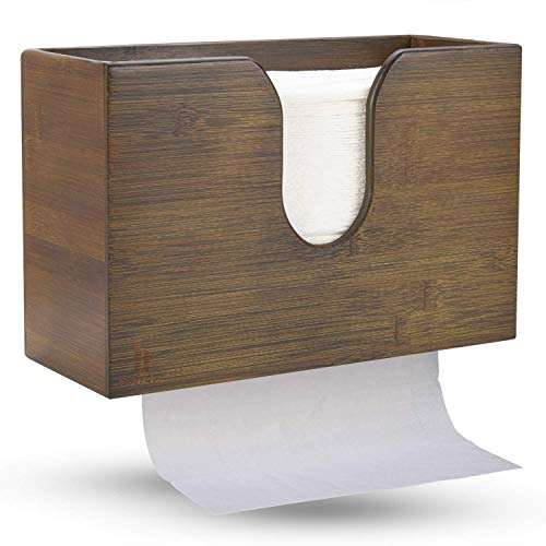 paper towel dispenser for home bathrooms Bamboo Paper Towel Dispenser, Paper Towel Holder for Kitchen Bathroom Toilet of Home and Commercial, Wall Mount or Countertop for Multifold, C Fold, Z fold, Trifold Hand Towels (Vintage Brown)