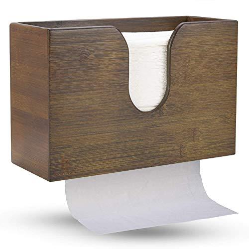 Bambus-Papierhandtuchspender, Papierhandtuchhalter für Küche, Bad, WC, Zuhause und Gewerbe, Wandhalter oder Arbeitsplatte für Multifold, C-Falz, Z-Falz, Trifold Handtücher (Vintage Braun)