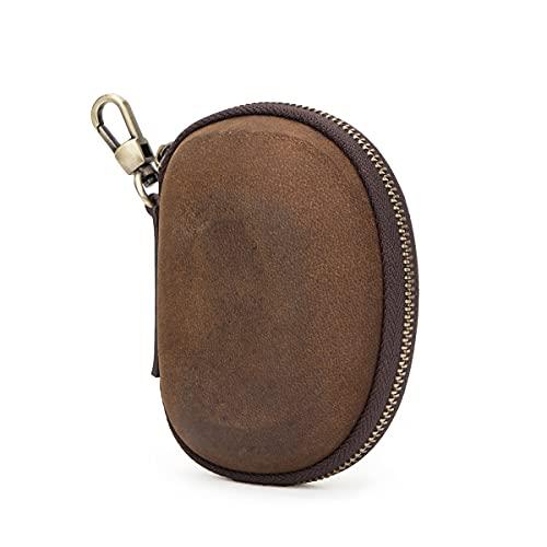 Hiram Funda de cuero genuino para auriculares, funda de almacenamiento de monedero...