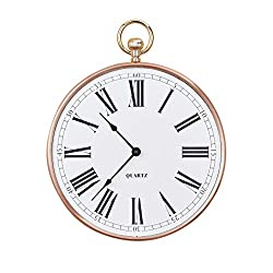 Collections Etc Rose Gold Old Time Pocket Watch Design Wall Clock | Large Black Roman Numerals | Easy-to-Read Large Letters | Keyhole Back for Easy Hanging | Plastic, Iron, Glass
