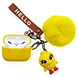 REEYEAR Protective Case Replacement Case Compatible for AirPods Pro Drop Proof Silicone Skin & Cover for Apple Headphone Charging Case 3 with Fluffy Fur Ball Cute Cartoon Pets Keychains Yellow Chick