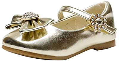 Dream Pairs ANGEL-22 Mary Jane Front Bow Heart Rhinestone Buckle Ballerina Flat (Toddler/ Little Girl) New, Gold Pu, 5 M US Toddler