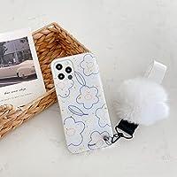 iPhone 7 Plus/iPhone 8 Plus 5.5インチケーススパークル、かわいい花に対応 DIY手作りブリンブリンファーぬいぐるみボールストラップカバーシェル(ホワイトボール)