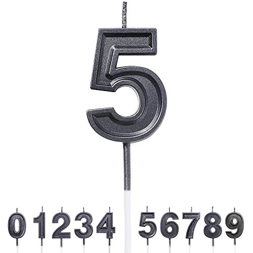 Gesentur Birthday Candles Numbers Candles Black Glitter Number 0 Cake Candles Topper Decoration for Wedding Party Kids Adults Pets(Number 5)