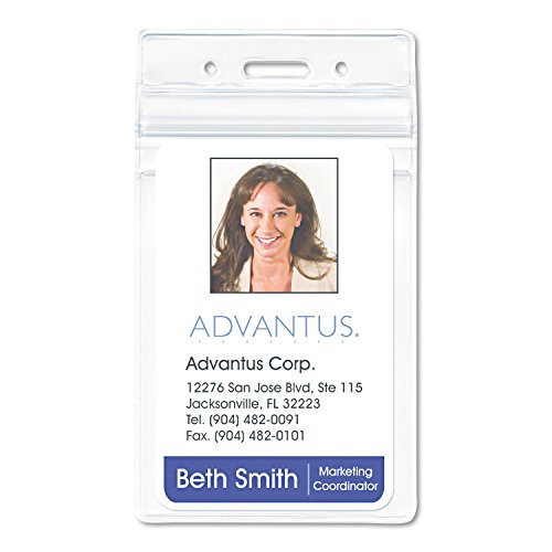 Advantus 75604 PVC-Free Badge Holders, Vertical, 3-Inch x 4-Inch, Clear, 50/Pack