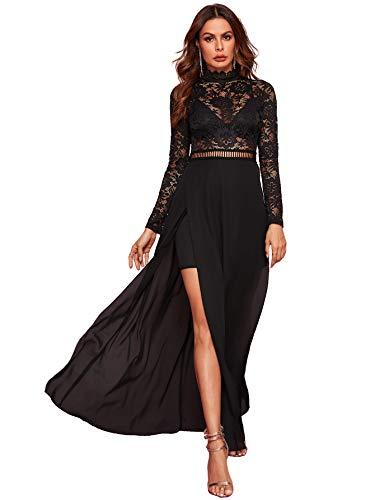 SweatyRocks Women's Sexy Sheer Lace Long Sleeve Split Maxi Cocktail Long Party Dresses Black M