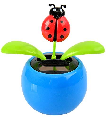 Home-X Ladybug Flower Solar Dancer Figure, Solar-Powered Dancing Office Desk Decor, Windowsill or Car Dashboard Decoration